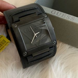 New guess men's watch black leather